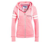 Sweatjacke - pink/ weiss meliert