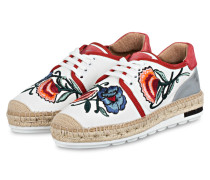 Espadrilles-Sneaker - weiss/ rot