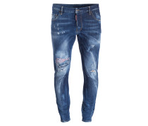 Destroyed-Jeans SEXY TWIST Slim-Fit - blau