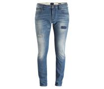 Destroyed-Jeans Skinny-Fit - blau