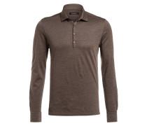 Poloshirt mit Seidenanteil - braun meliert