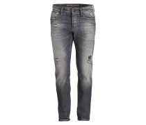 Destroyed-Jeans RAZOR Slim-Fit - blau