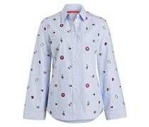 Bluse mit Stickereien - hellblau
