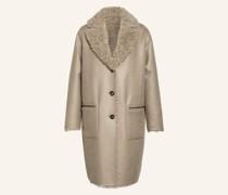 Mantel mit Kunstfellbesatz zum Wenden