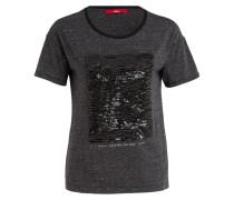 T-Shirt mit Paillettenbesatz - schwarz