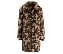 Mantel in Felloptik - schwarz/ braun/ grün