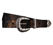 Ledergürtel - schwarz/ kupfer metallic