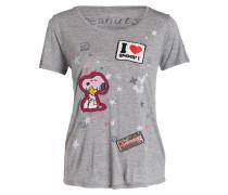 T-Shirt mit Patches - grau meliert