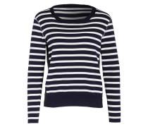 Pullover im Materialmix - blau