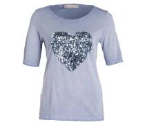 T-Shirt mit Paillettenbesatz - blau