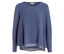 Blusenshirt im Materialmix - blau