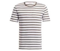 T-Shirt DELTA - weiss/ khaki gestreift