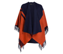 Poncho BICOLORE - marine/ orange