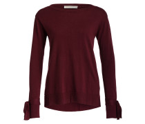 Pullover mit Schleifendetail - weinrot