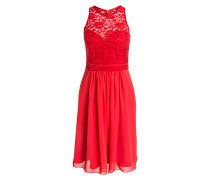 Kleid mit Spitzenbesatz - rot