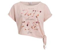 T-Shirt mit Knotendetail - rosé