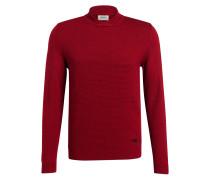 Schurwoll-Pullover mit Schalkragen - rot
