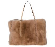 Handtasche mit Fellbesatz - beige