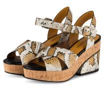 Sandaletten - WEISS/ COGNAC/ SCHWARZ