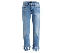 Cropped-Jeans FRINGE - blue