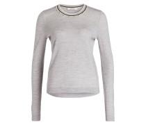 Pullover mit Perlenbesatz - grau