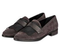 Loafer mit Fransen - grau velours