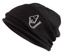 Mütze mit Schmucksteinbesatz - dunkelgrau
