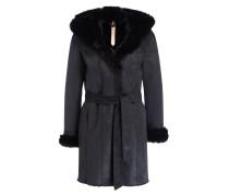 Mantel in Lammfelloptik - schwarz