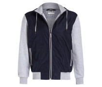 Sweat-Blouson im Materialmix