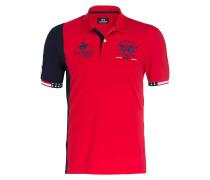 Piqué-Poloshirt - rot/ navy