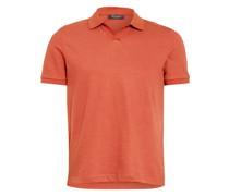 Piqué-Poloshirt mit Leinen