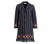 Mantel mit Fransensaum - blau