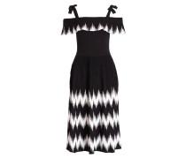 Off-Shoulder-Kleid - schwarz/ weiss