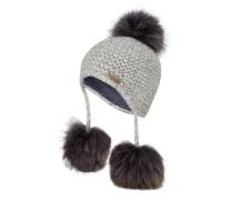 Mütze mit Pelzbommel - hellgrau