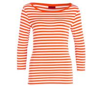 Shirt DANNELA mit 3/4-Arm - orange/ weiss
