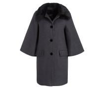 Mantel mit Kragen in Pelzoptik