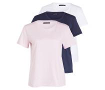 3er-Pack T-Shirts - navy/ rosa/ weiss