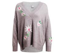 Cashmere-Pullover - grau/ weiss/ grün