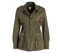Jacke mit Stickerei - dunkelgrün