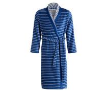 Damen-Bademantel - blau/ grau gestreift