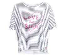 Oversized-Shirt - weiss/ grau gestreift