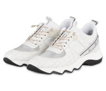 Plateau-Sneaker mit Nietenbesatz - WEISS