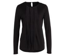 Shirt mit Seidenbesatz - schwarz