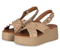 Plateau-Sandalen mit Nietenbesatz - BEIGE