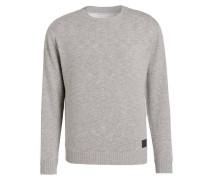 Pullover im Materialmix - grau meliert
