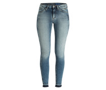 Skinny-Jeans - waterfall destructed blue