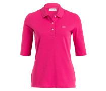 Piqué-Poloshirt mit 3/4-Arm - magenta
