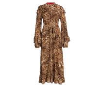 Kleid CHRISTINE - beige/ dunkelbraun