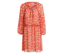 Kleid DOMBRA - orangerot/ weiss