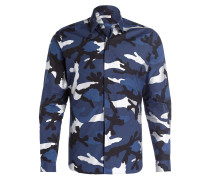 Hemd - blau/ schwarz/ silber